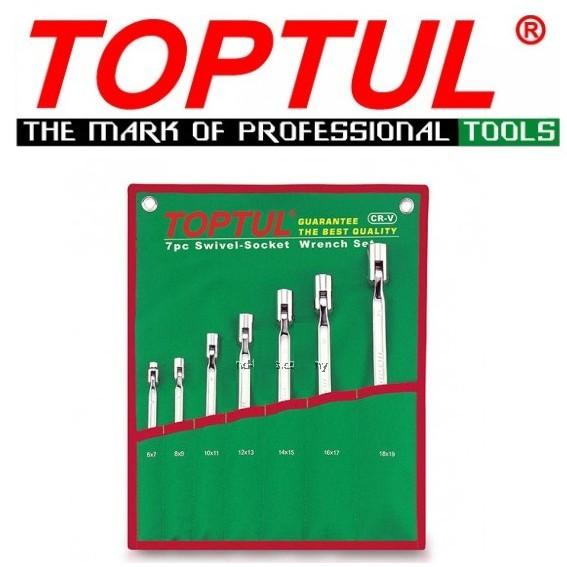 Toptul 7PCS Double End Swivel Socket Wrench Set - Pouch Bag GAAA0704