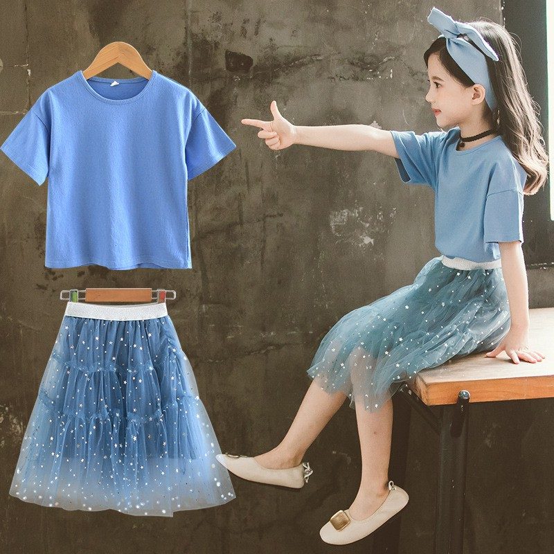 4bfd9fbb75 Girls clothes set Short sleeve shirts Sequined Mesh Skirt Two pieces Kids  tracksuit Summer