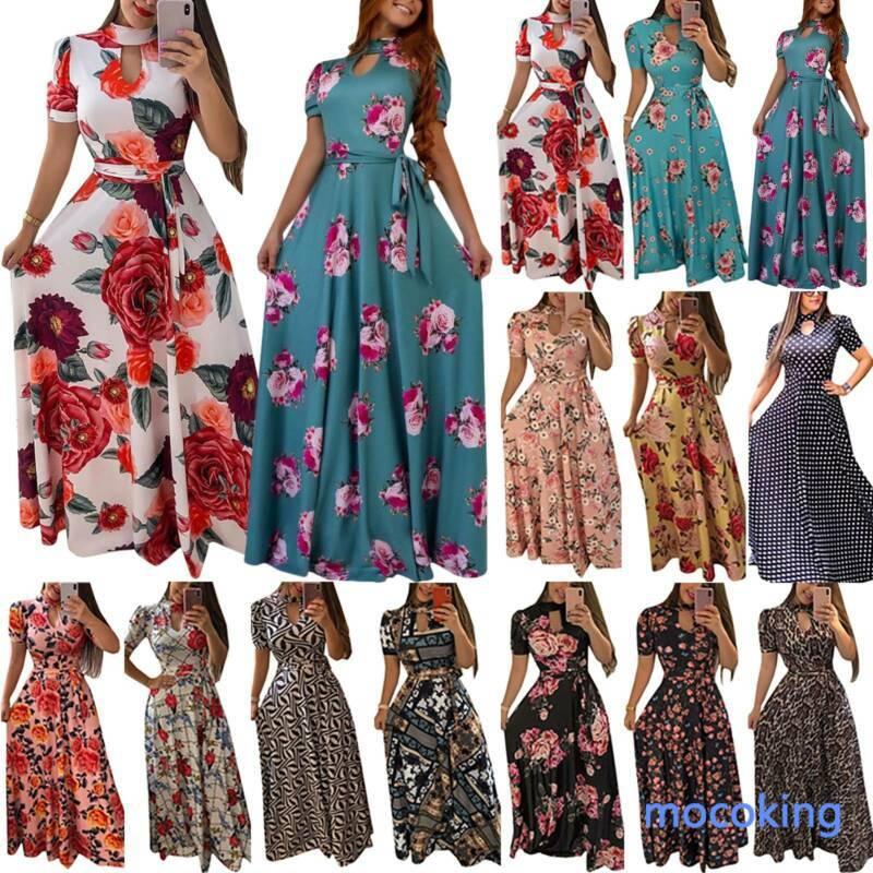 New Long Sleeve Boho Dress Long Maxi Dress Evening Party Womens Rose Printing