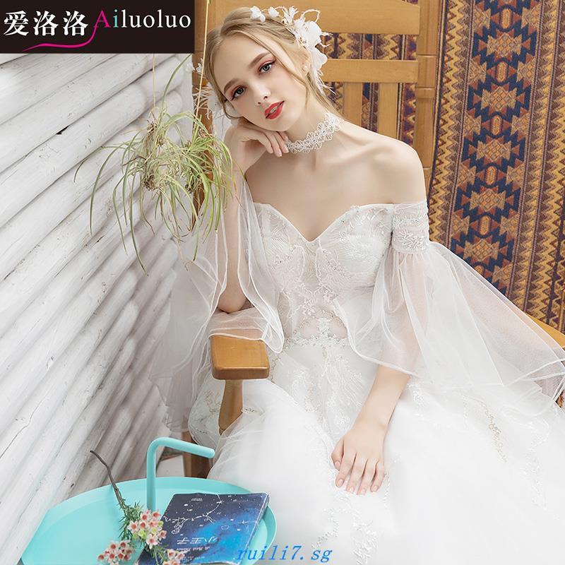 784c4d8f8f Long trailing princess bride wedding dress dream sweet word shoulder to  shoulder large size was thin retro 2018