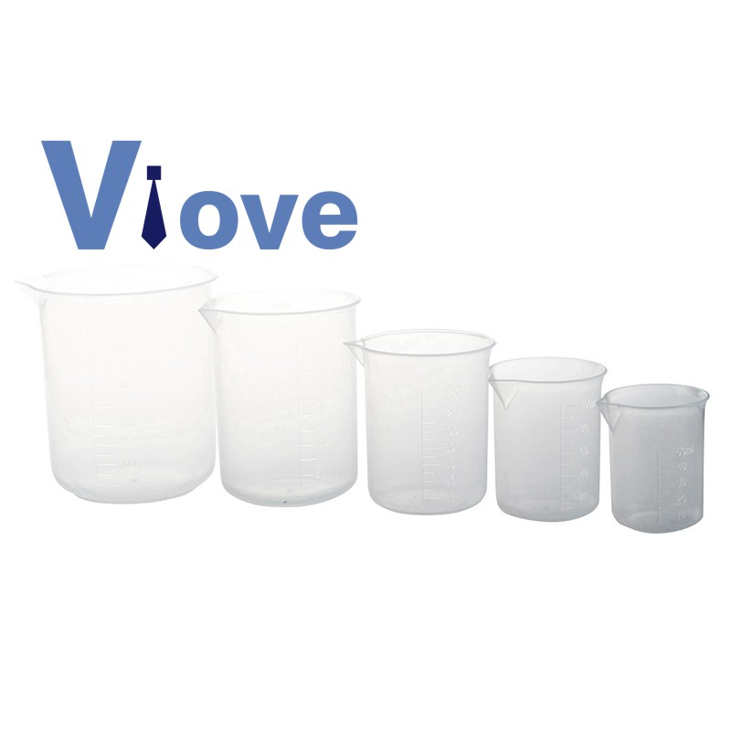 4 x Plastic Graduated Beakers Transparent 50 150 250 500ml