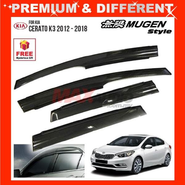 [FREE Gift] KIA CERATO K3 2012 - 2020 MUGEN STYLE Smoke Black Rain Guard Acrylic Window Door Visor (4pcs/Set)