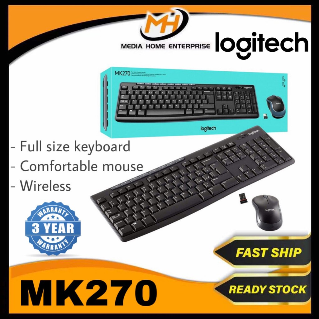 Logitech Wireless Combo Keyboard and Mouse MK270r - Full-size keyboard, Comfortable compact mouse