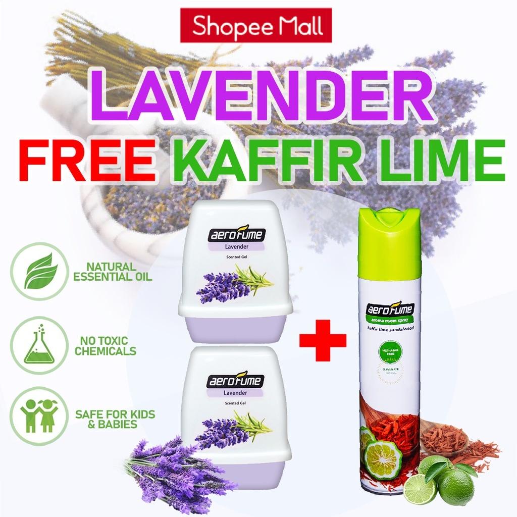 Kaffir Lime Sandalwood Aroma Spray (1 Pcs) + Lavender Scented Gel (2 Pcs) [Bundle] Fragrance