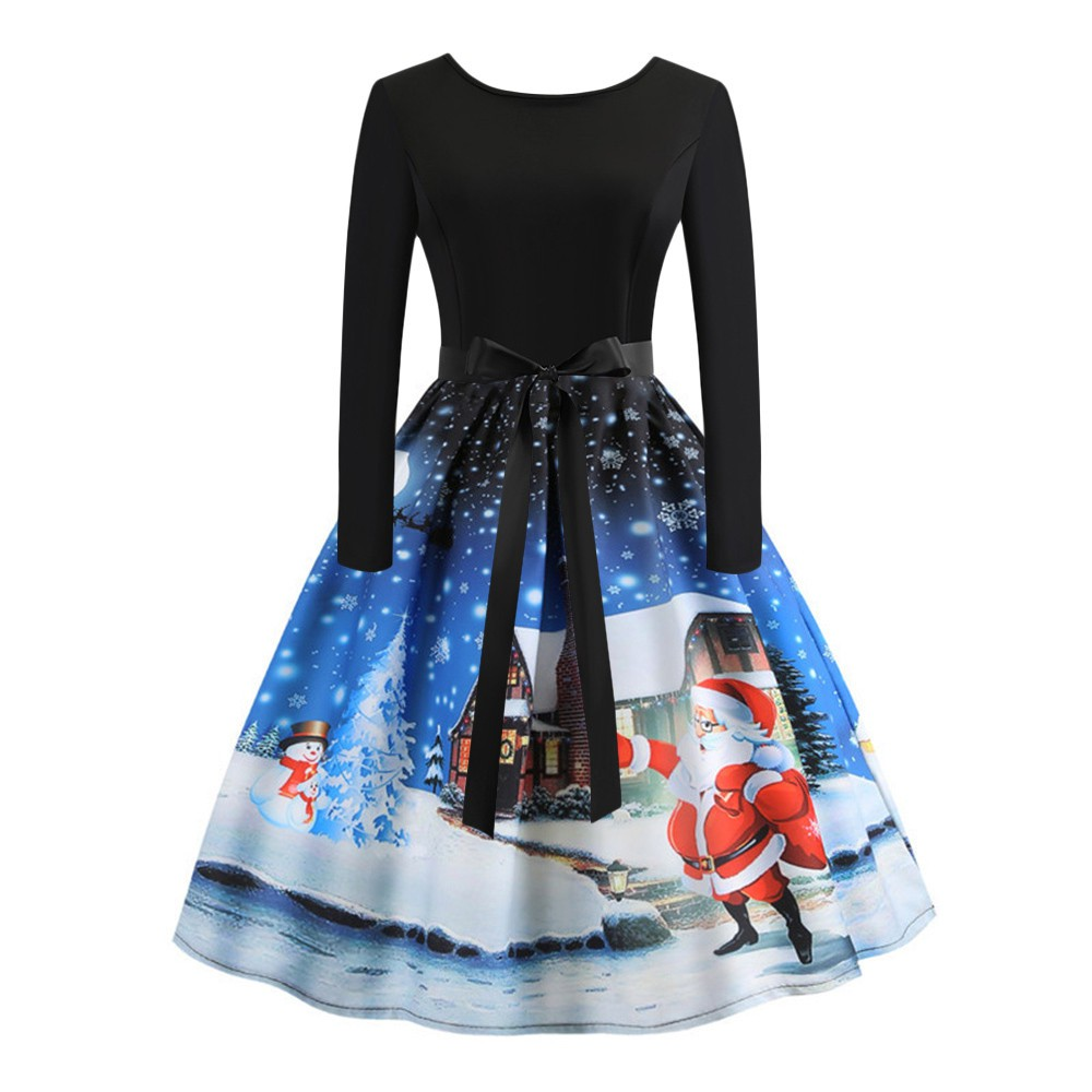 Christmas Evening Party.Women S Vintage Print Long Sleeve Christmas Evening Party Swing Dress