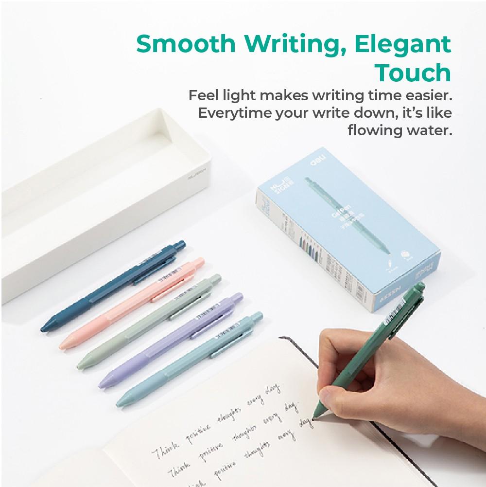 Jadi Nusign Cute Push Clip Gel Pens Multi Color 12-Pcs