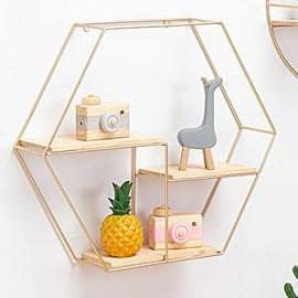 Ins Style Metal Wall Hang Metal Decor Rack hexagon shape gold color rack circle shape