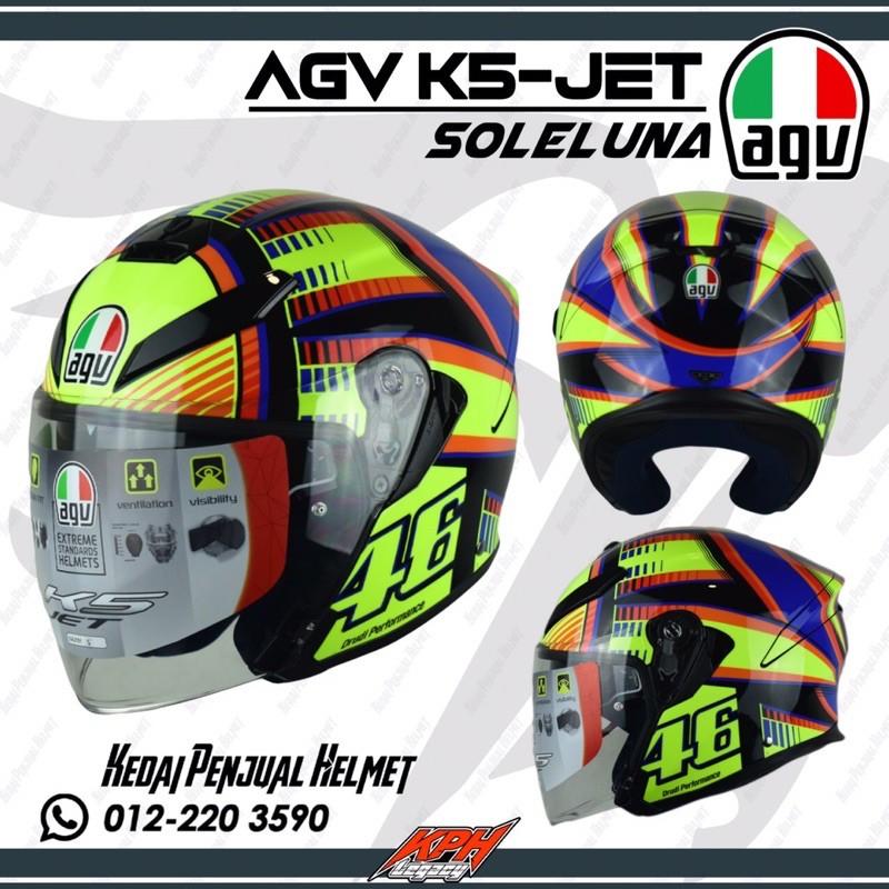 Agv K5 Jet Open Face Soleluna Helmet Shopee Malaysia