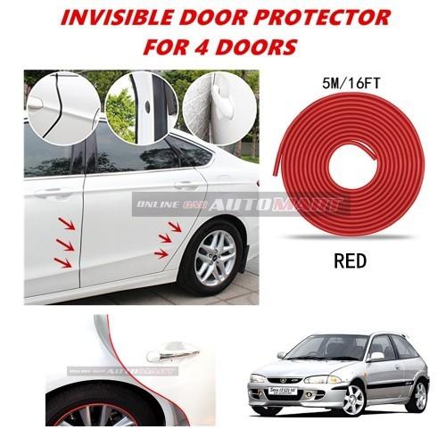 Satria - 5M (RED) Moulding Trim Rubber Door Guard Scratch Protector Tape(4 Door)