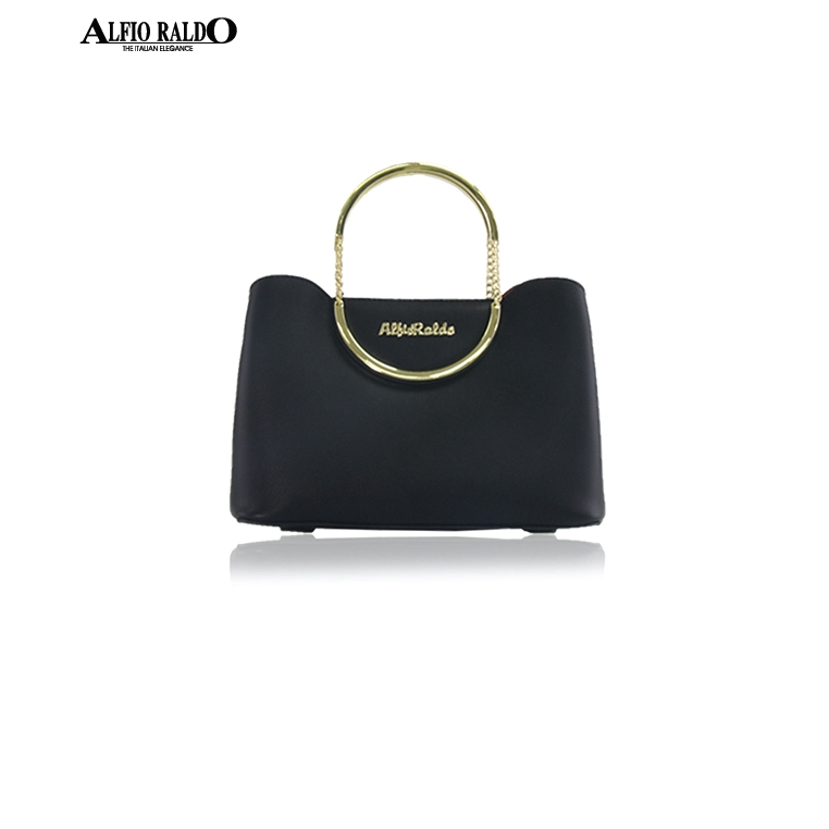 Alfio Raldo Luxury Stylish Black Tote Sling Bag with Gold Metal Handler Chain