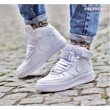 Arábica Espere Posteridad  Nike Wmns Air Force 1 Mid 07 Le White Basic Half Fashion Wear Wild | Shopee  Malaysia