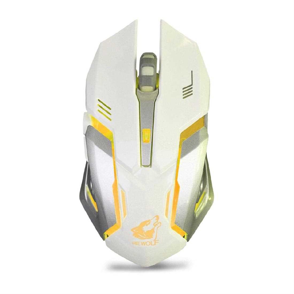 X7 Ergonomic Gaming Mouse 6 Buttons Luminous 2.4G Wireless Computer Mouse (White)