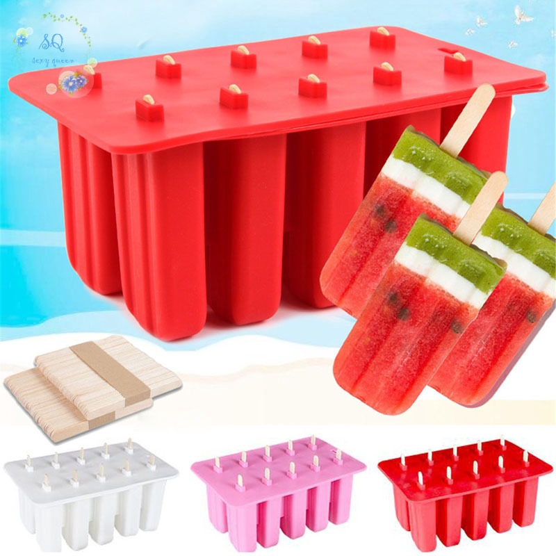 10 Cell Frozen Ice Cream PopMold Popsicle Maker Lolly Mould Ice Tray 50 Sticks