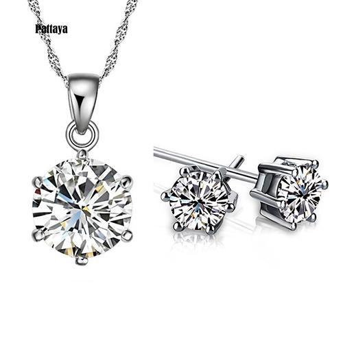 Women Wedding Party Cubic Zirconia Pendant Necklace Stud Earrings Jewelry Set