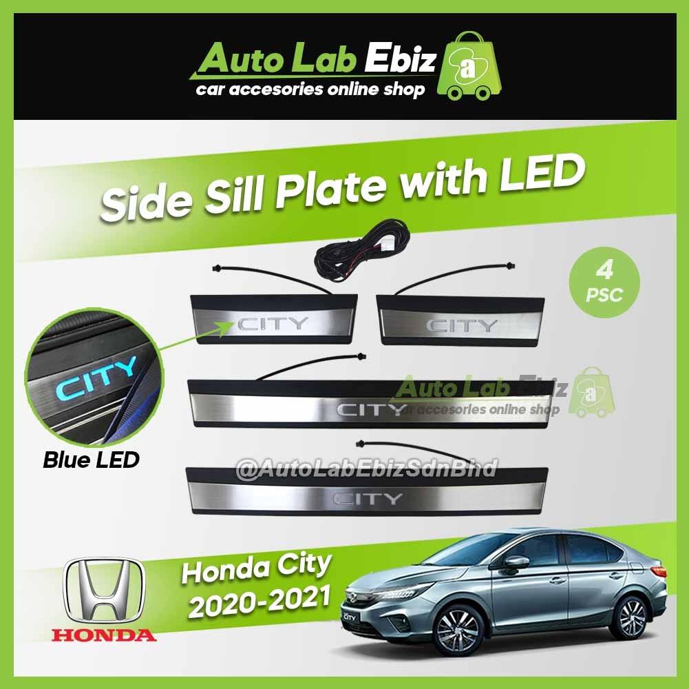 Honda City 2020-2021 Side Sill Plate with LED Blue (4 pcs/set)