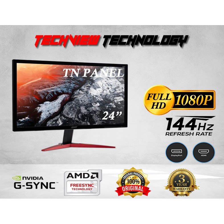 """ACER KG241QA 23.6"""" 144HZ 0.6MS G-SYNC COMPATIBLE ***FREE DISPLAY PORT CABLE***"""