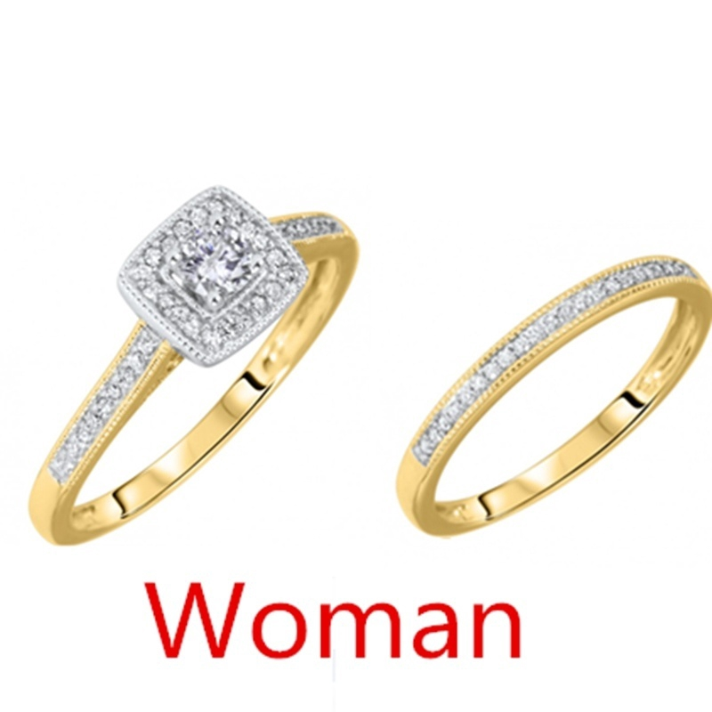 Size 4-12 10KT Wedding Engagement Ring Set Anniversary Propose Halo Bridal Party