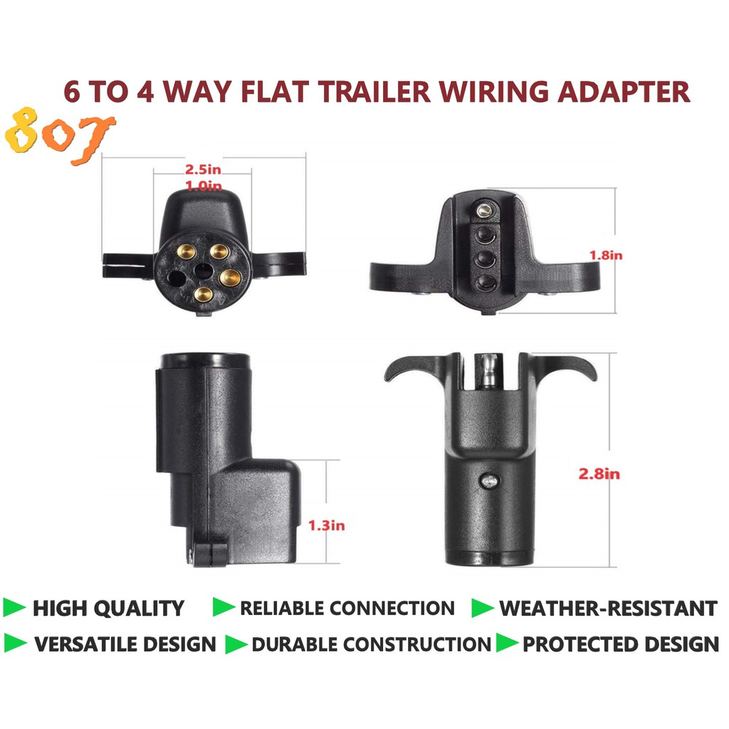 Trailer Wiring Adapters 6 Round To 4 Flat On 4 Prong Trailer Wiring