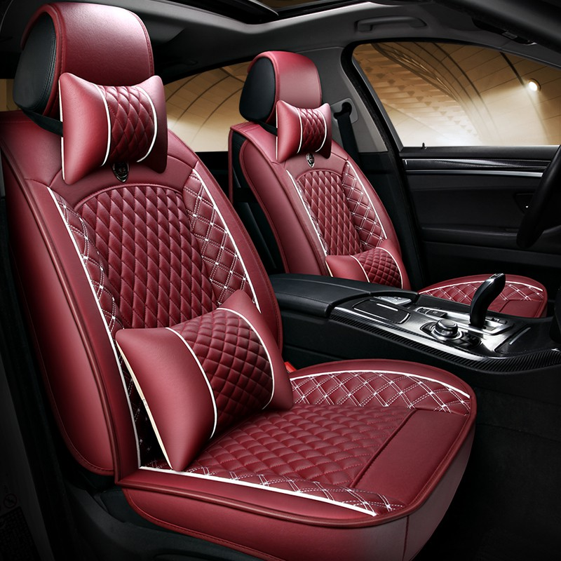 i20 i30 Universal Red Eco-Leather Full Set Car Seat Covers for Hyundai i10