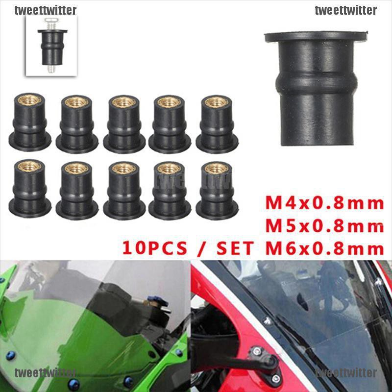 Well Nuts M5 x 0.8mm Rubber Motorcycle Bodywork For Kawasaki Pack of 10
