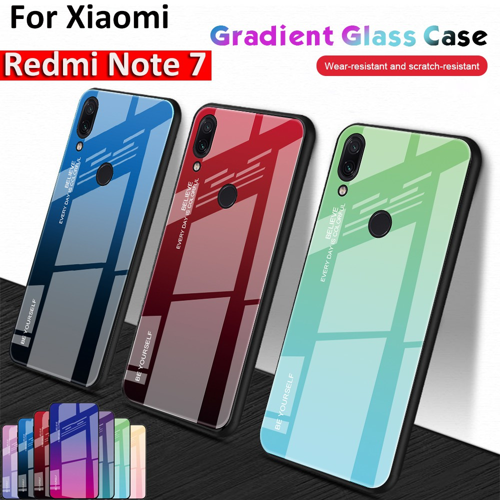 online store a584e 9ae80 Case For Xiaomi Redmi Note 7 Gradient Tempered Glass Back Casing Slim Cover