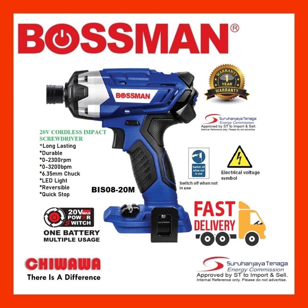 BOSSMAN BIS08-20M 20V CORDLESS IMPACT SCREWDRIVER MESIN PEMAKAI SKOR TANPA WAJAR