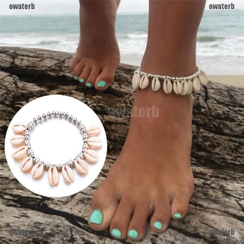 Boho Women Bead Shell Anklet Ankle Bracelet Barefoot Sandal Beach Foot Jewelry