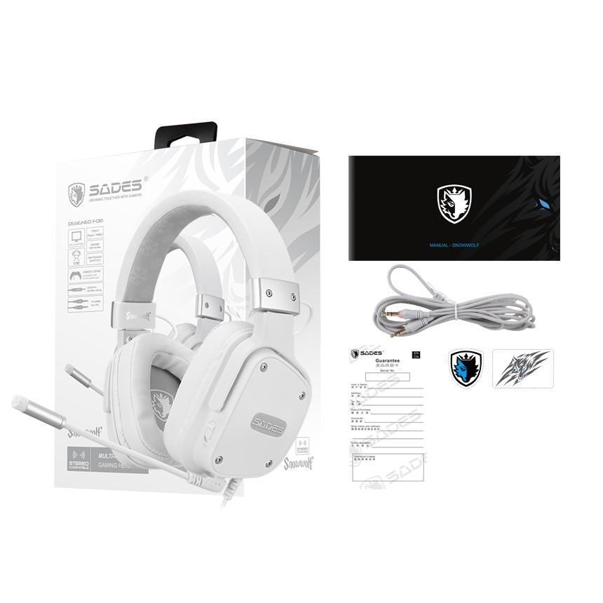 {SD-SNOWWOLF-WHITE} Sades Snowwolf Video Gaming Headset - PS4/ PS5,XBOX,NS,PC,Mobile (White)