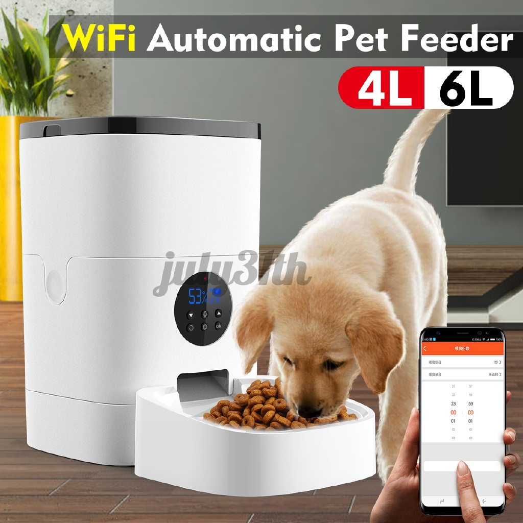 Wifi Button Version 4l Automatic Pet Feeder App Control Voice Recording Timing Feeding Food Dispenser For Cats Shopee Malaysia