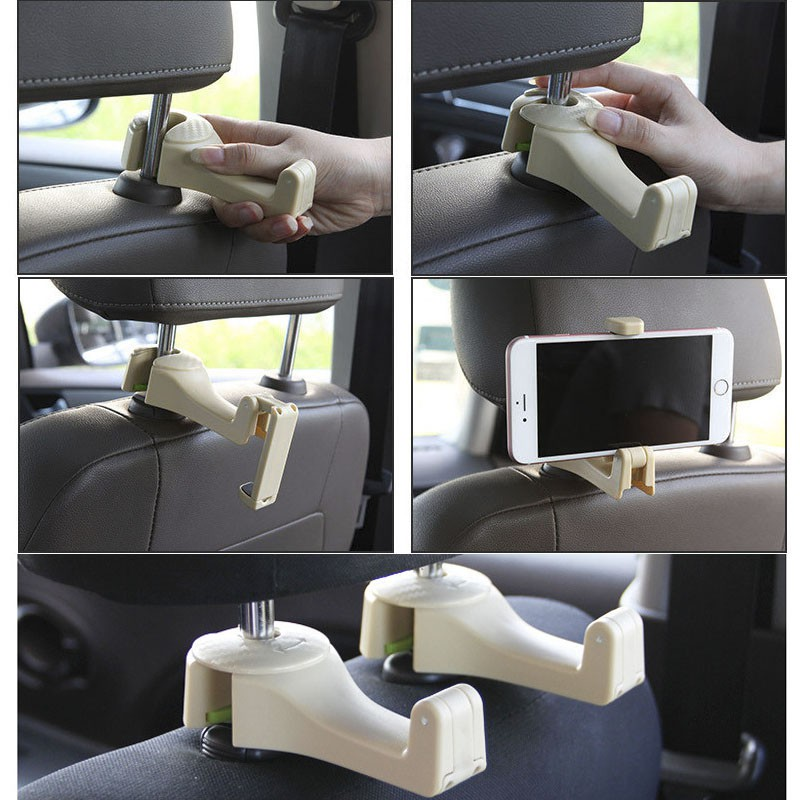 READY STOCK]2 in 1 Car Phone Holder Stand Headrest Hook Car Back ...