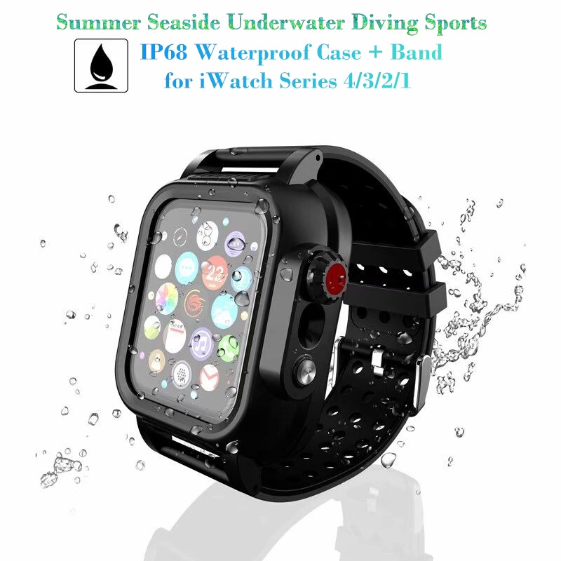 premium selection 4172b 08220 🏊Apple Smart Watch Series 4/3/2/1 Strap/Band Seaside Underwater Diving  IP68 Waterproof iWatch 44/40/42/38MM Case Cover