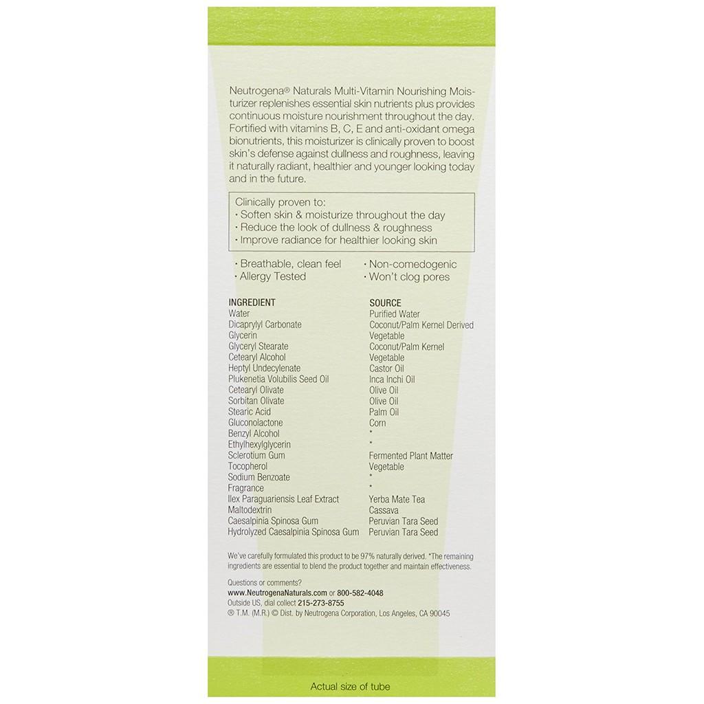 Neutrogena Naturals Multi-Vitamin Nourishing Face Moisturizer - 3 Fl
