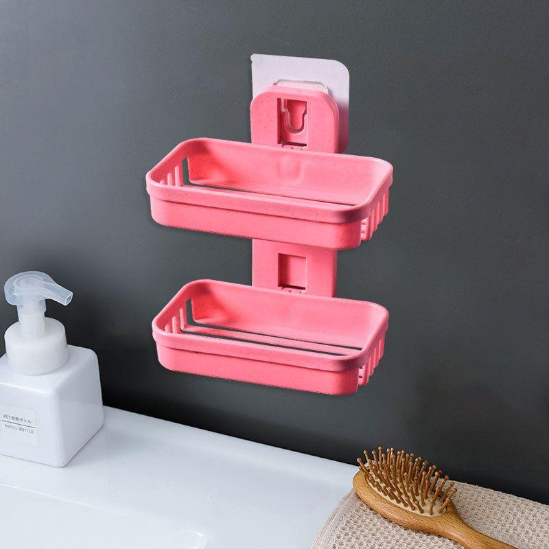 新款卫浴壁挂式香皂盒环保麦秸秆免打孔双层沥水排水肥皂盒置物架New bathroom double-layer draining soap box rack