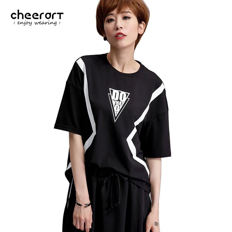43ec953cb9158 Workout Top Summer T Shirt Women Punk Rock Black Print Loose Casual Tee  Shirt