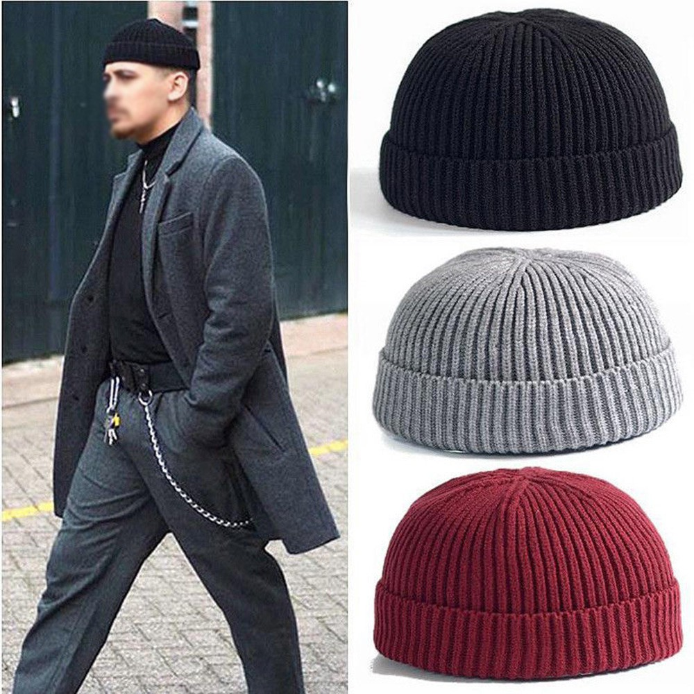 8fd19b43 Men Women Knitted Hat Beanie Skullcap Sailor Docker Fisherman Cuff Brimless  Cap