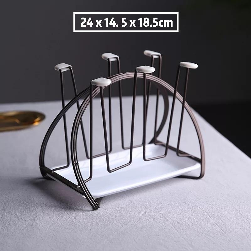 [ READY STOCK ]  Nordic Style Iron Glass Mug Coffee Cup Drain Storage Rack 6 Hook Kitchen Jualan Murah Simpanan