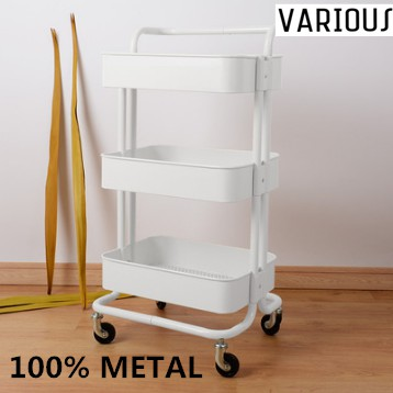 [100% Steel] 3 Tier Multi-functional Metal Trolley Storage Rack with Handle Tier Trolley Storage