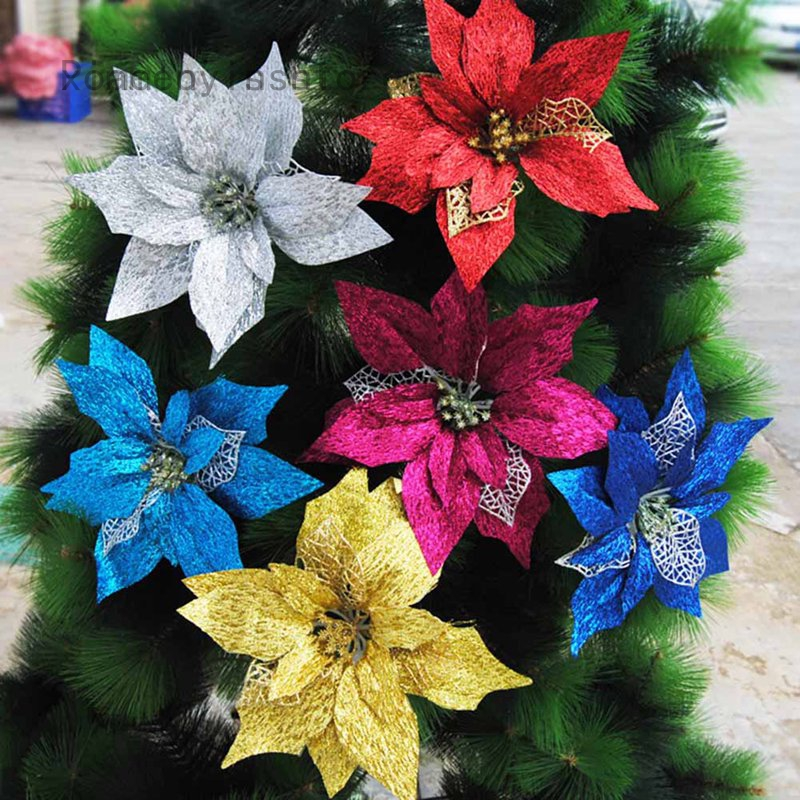 10pc Artificial Flowers For Decoration Glitter Poinsettia Fake Flowers Diy Home Wedding Decoration Flower Head Christmas Shopee Malaysia