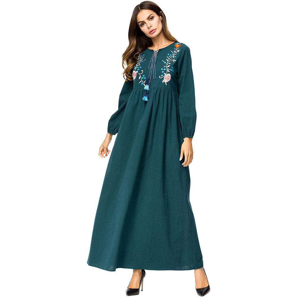 75762d0b568 Muslim long sleeves maternity embroidery green Dress maxi abaya plus size