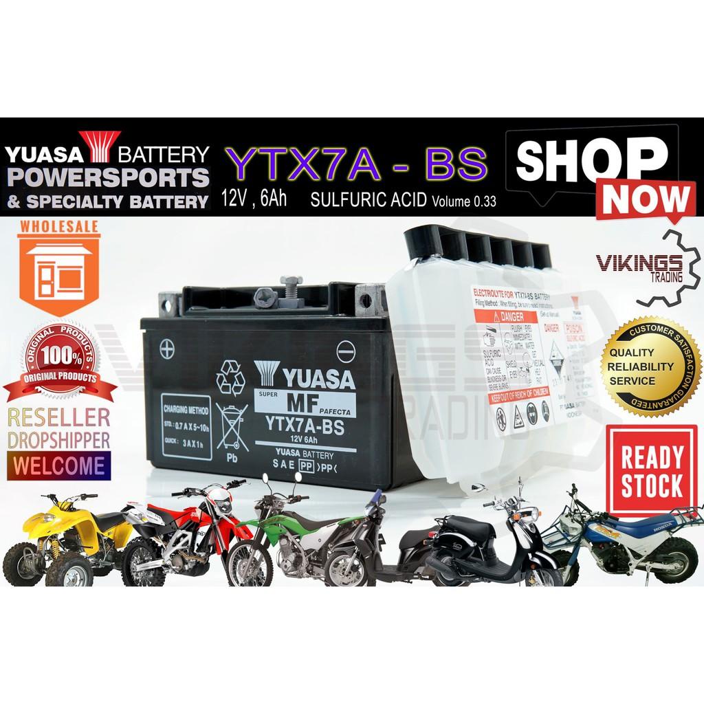 YTX7A VIKINGS 100% ORIGINAL AUTHENTIC JAPAN YUASA BATTERY YTX7A-BS MF SYM NINJA250 MODENAS KARISMA COMEL TORPEDO