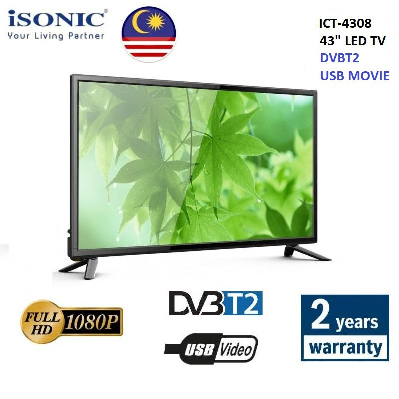ISONIC 43˝ INCH ICT-4308 FULL HD LED TV DVBT2 USB *SKYWORTH HAIER HISENSE