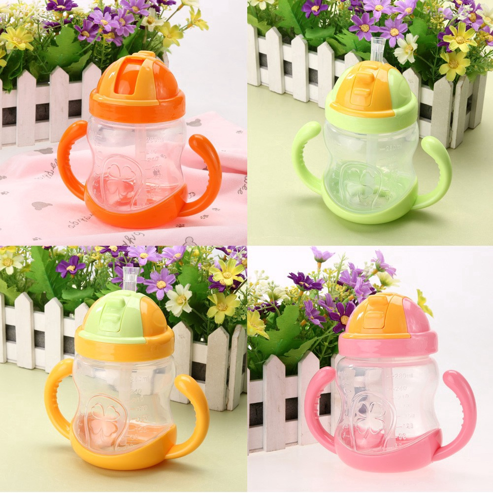 280ml Cute Baby Cup Kids Feeding Drinking Water Straw Handle Cup Training Cup 0C