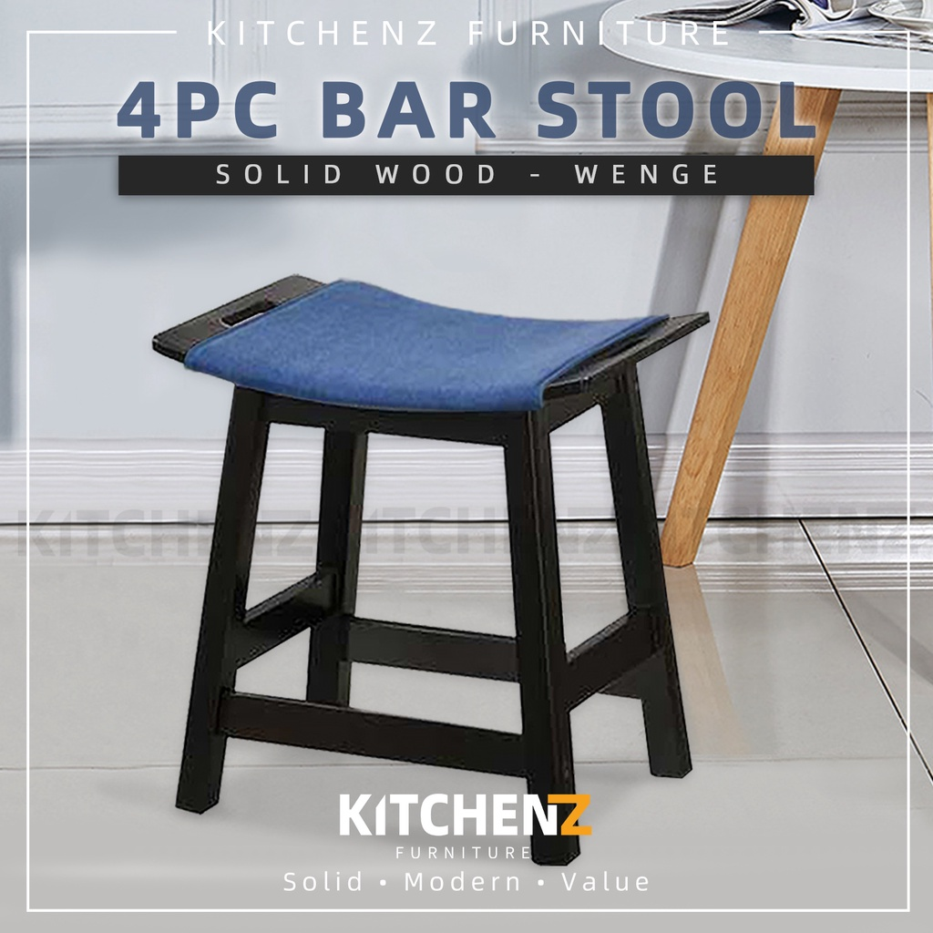 KitchenZ 4PCS Solid Wood Bar Stool with Jeans Fabric / Small Size / Cafe / Pub / Wenge / White - SSH-FN-118-JEANS