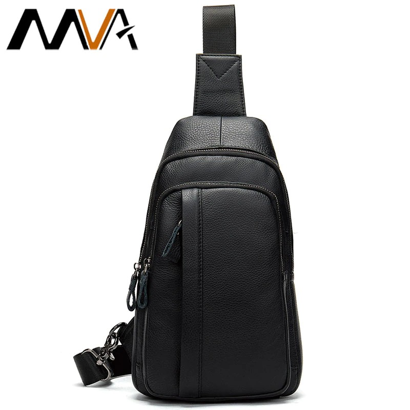 30bd4340ede ProductImage. ProductImage. MVA Men's Chest Bag Men Leather Genuine Travel  Belt Messenger Bags Casual Crossbody Shoulder ...