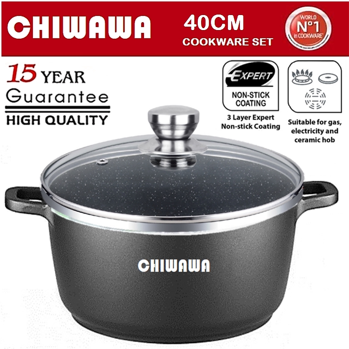 【ORIGINAL】CHIWAWA ITALY 40CM Casserole Die Cast Aluminium Non Stick Pot Bowl Pan Cookware Tool with Cover