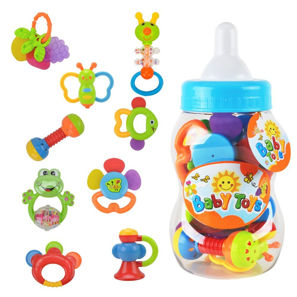 Toys For Infants >> Rattle Teether Set Baby Toys Infants Baby Teether Rattle Toy Gift Sets 9 Pcs