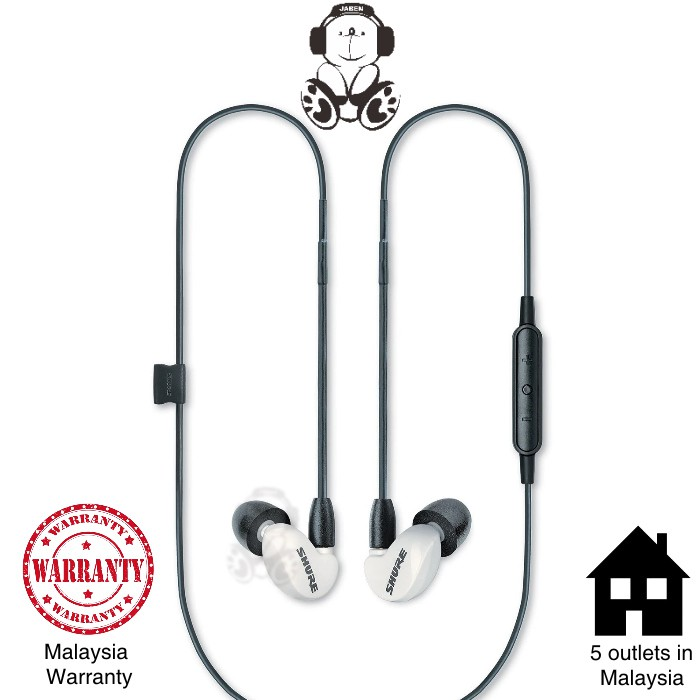 Shure AONIC 215 / SE215 Uni Remote Control Volume Control In-line Mic Wired IEM MMCX In-Ear Earphones [Jaben]