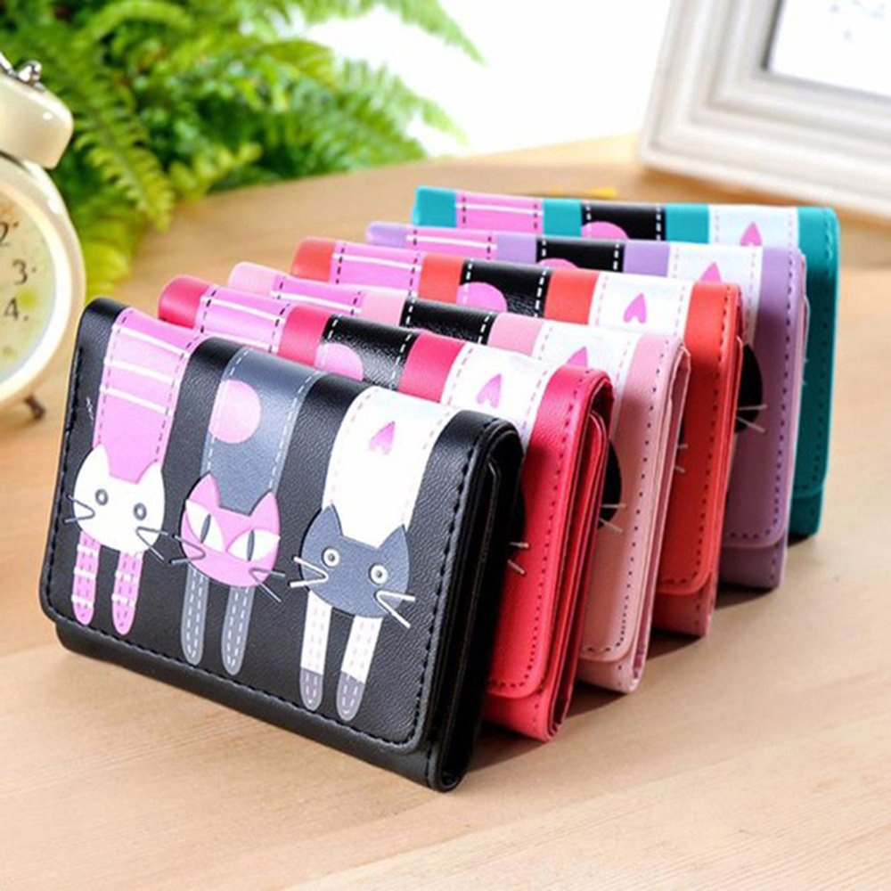 Women Cartoon Cat Pattern Coin Purse Short Wallet Credit Card Holders Wallet★