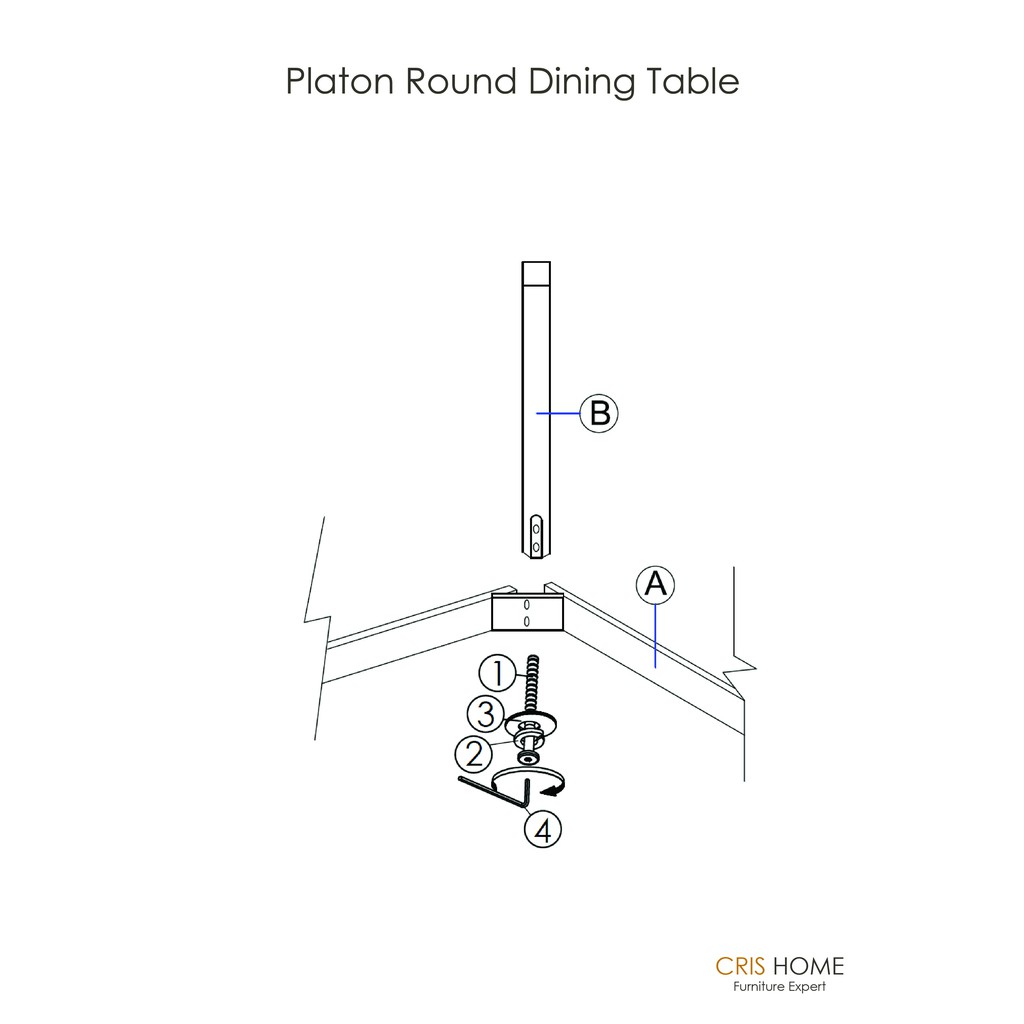 CrisHome - PLATON 1.05 Meter Round Dining / Compact Meeting Table
