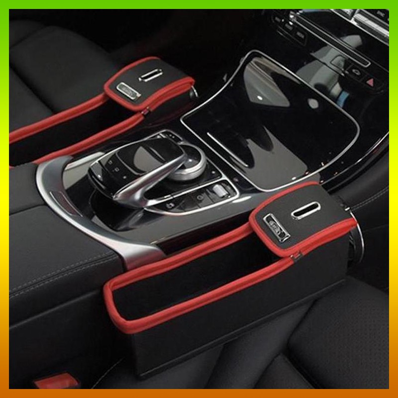Black+Red Leather Car Seat Gap Organizer Console Storage Coin Cup Holder Pocket